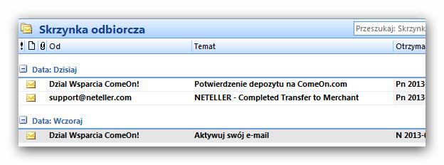 ComeOn kasyno - potiwierdzenie wpłaty na maila