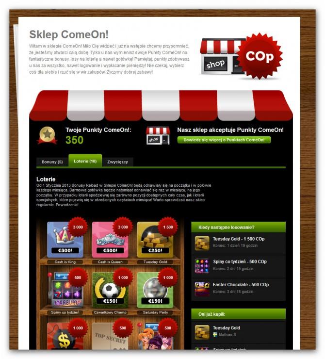Kasyno ComeOn - sklep gracza z punktami bonusowymi