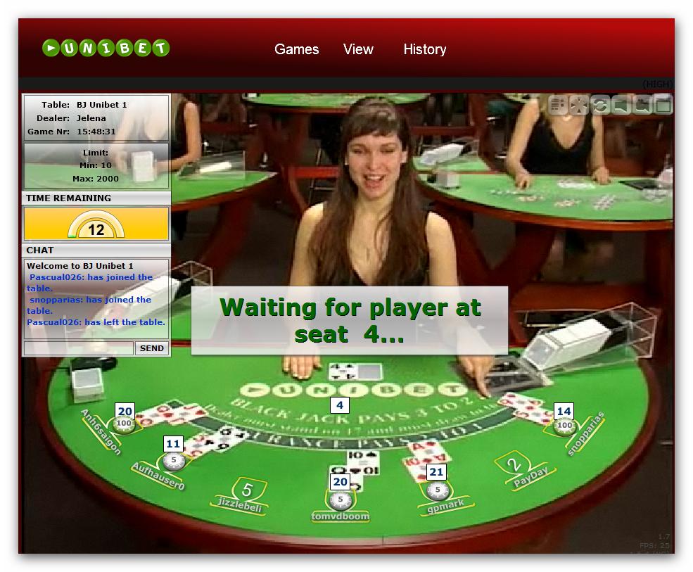 Gra w blackjacka w kasynie Unibet  z żywym krupierem