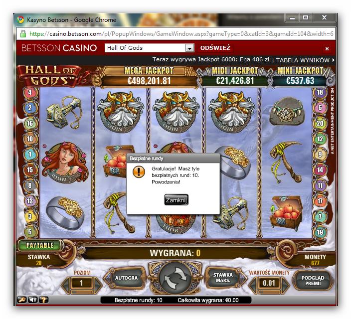 Darmowe spiny na automacie Hall of Gods w kasynie Betsson
